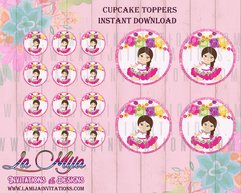 Baby Fiesta Cupcake Toppers,Charra Printables