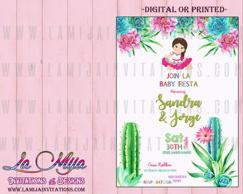 Fiesta Baby Shower Invitations, Customized Item,  Mexican Baby Shower Invitations, Baby Fiesta Invitations, Charrita, Senorita, Baby Shower Mexican Theme,Cactus Baby Shower Invitations - Addi Creations