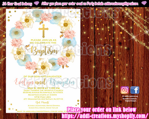 Twin Baptism Invitations, Twins Baptism Invitations, Twins Religious Invitation - Addi Creations