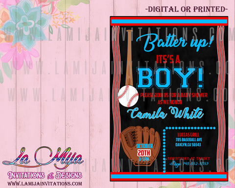 Baseball Theme Baby Shower Invitations, Customized Item,  Batter Up Baby Shower Invites