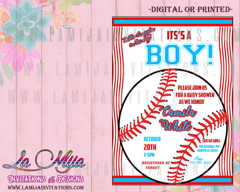 Baseball Baby Shower Invitations, Customized Item,  Baseball Theme Baby Shower Invites, Baby Shower Boy Invitations,