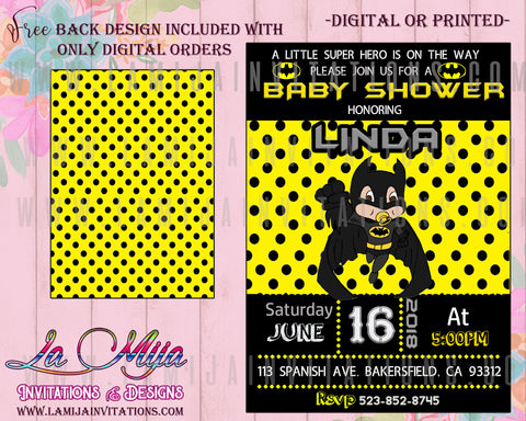Batman Baby Shower Invitations,  Customized Item, Batman Baby Shower Ideas, Batman Baby Shower Decor, Super Hero Baby Shower Invitations, Invitaciones Baby Shower Batman