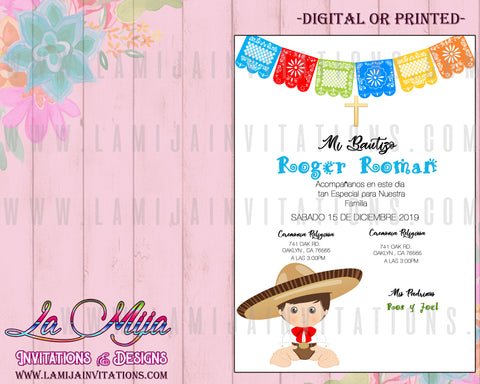 Charro Invitations, Customized Item, Charro Baptism Invitations, Mexican Theme Baptism Invitations, Invitaciones Bautizo Charro, Muchachito Baptism