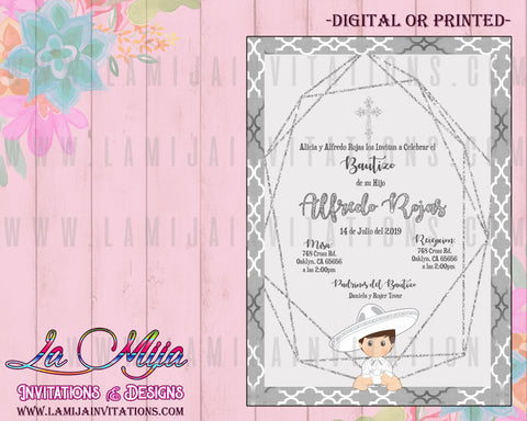 Charro Invitations, Charro Bautizo Invitations, Customized Item, Charro