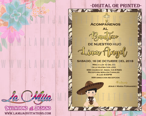 Charro Invitations, Customized Item, Charro Baptism Invites, Invitaciones Charro Bautizo