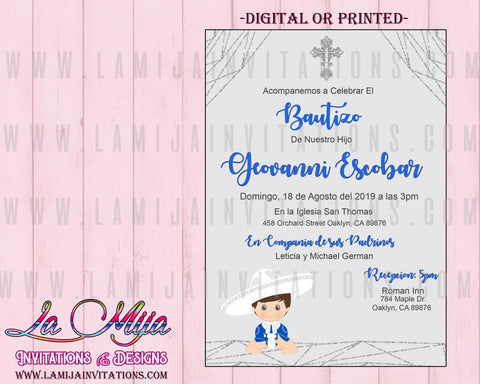 Charro Invitations, Customized Item, Charro Baptism Invites, Invitaciones Charro, Bautizo - Addi Creations