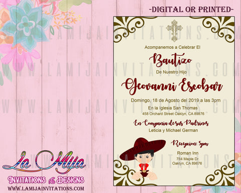 Charro Invitations, Customized Item, Charro Baptism Invitations, Burgunday Charro, Invitaciones Charro, Bautizo