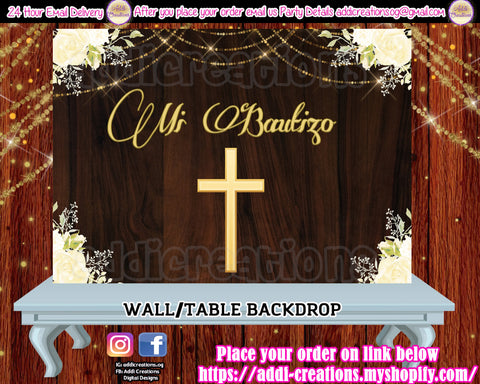 Baptism Backdrop, Bautizo Backdrop, Mi Bautizo Invitaciones, Bautizo Party Ideas, Spanish Baptism, Bautizo Party Decor - Addi Creations