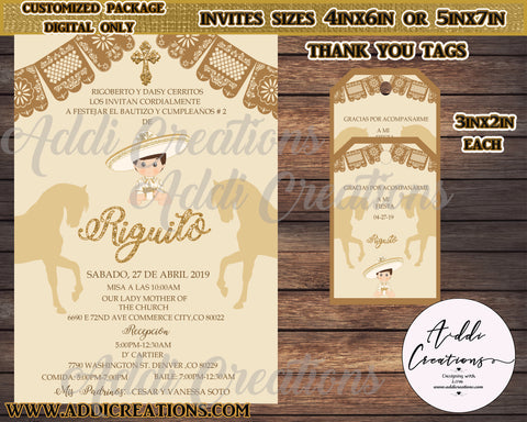 Charro Invitations, Customized Item, Charro Thank You Tags, Digital Only, Invitaciones Charro, Charro Tags - Addi Creations
