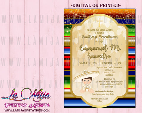 Charro Invitations,  Customized Item, Charro Baptism Invitations, Mexican Baptism Invitations, Invitaciones Charro Bautizo, Charrito, Mexican Theme Baptism - Addi Creations