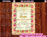 Spanish Baptism Invitations, Bautizo Invitations, Bautizo Ideas, Baptism Floral invitations - Addi Creations