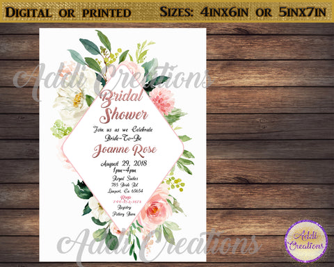 Bridal Shower Invitations, Customized Item, Floral Bridal Shower Invitations, Invitaciones Despedida de Solter, Floral Bridal Shower Invites, Floral Bridal Shower - Addi Creations