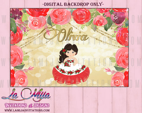 Charra Backdrop, Customized Item,  Tres Anos Charra, Tres Anos Theme Party, Digital Charra Backdrop, Charra Red Invitations - Addi Creations