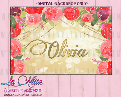 Charra Backdrop, Customized Item, Floral Name Backdrop, Mexican Theme Backdrop, Digital Mexican Theme, Charra Theme - Addi Creations