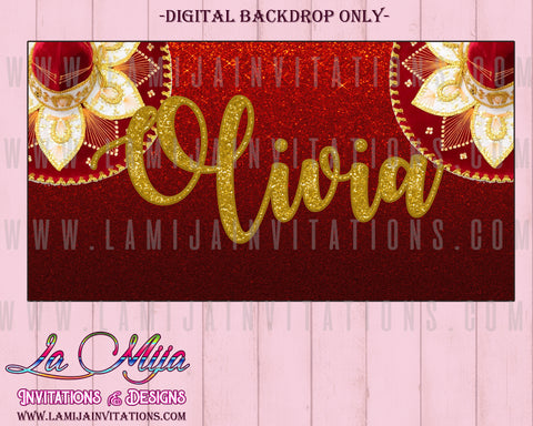 Charro Party Theme Backdrop, Quinceanera Mexican Backdrop, Mariachi Backdrop , Mariachi Theme, Mexican Theme Quinceanera, Red and Gold - Addi Creations