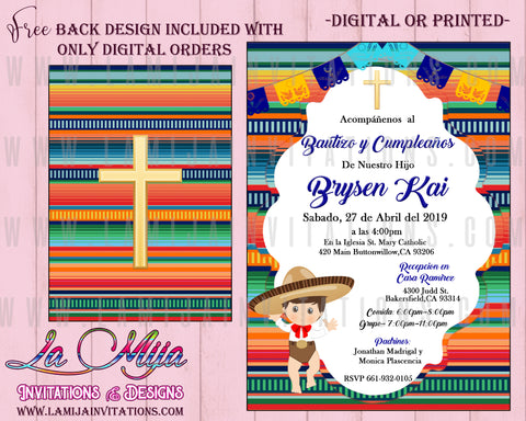 Charro Invitations, Customized Item, Charro Baptism Invitations, Invitaciones Charro, Charro Baptism Theme, Mexican Charro Invitations, Fiesta Baptism Invitations - Addi Creations