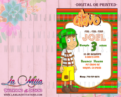 Chavo del Ocho Invitations, Customized Item,  Chavo del Ocho Party, Chavo del Ocho Birthday Invitations, Invitaciones Chavo del Ocho