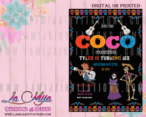 Coco Birthday Invitations, Coco Disney Invitations, Invitaciones Coco