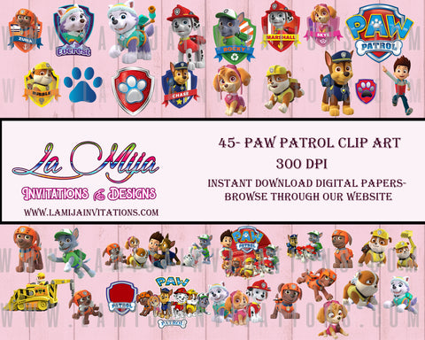 Paw Patrol Clipart, Instant Download, Paw Patrol Digital Cliparts - Addi Creations