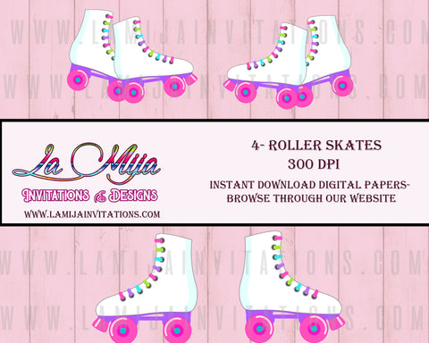 Roller Skates Clip Art, Instant Download, Skates Digital Clip Art - Addi Creations