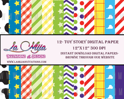 Toy Story Digital Paper, Instant Download, Toy Story Background, Toy Story Paper, Toy Story Birthday Invitations - Addi Creations