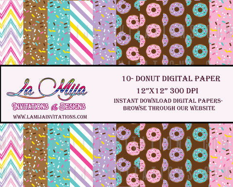 Donut Digital Paper, Instant Download, Donut Clipart, Spinkles Digital Paper, Donut Digital Background, Donuts Paper Background - Addi Creations