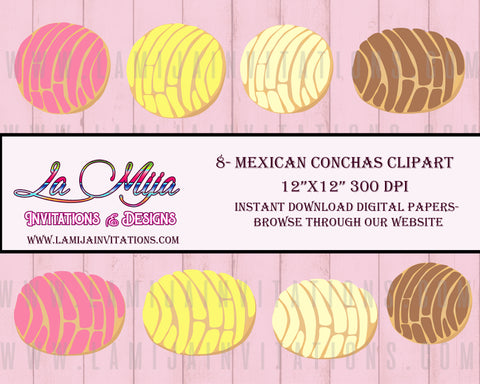 Digital Mexican Bread Clipart, Instant Download, Mexican Conchas Clip Art, Conchas Cliparts, Bread Clipart - Addi Creations