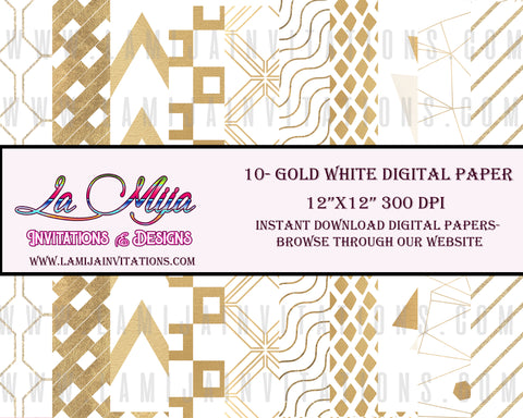 Digital Paper, Instant Download, Gold White Digital Paper, Gold Digital Paper - Addi Creations