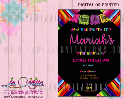 Fiesta Birthday Invitations, Customized Item, Mexican Birthday Invitations, Invitaciones Cumpleanos