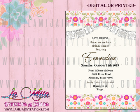 Fiesta Bridal Shower Invitations, Customized Item, Mexican Theme Bridal Shower Invites