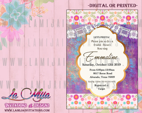 Fiesta Bridal Shower Invitations, Customized Item, Mexican Theme Bridal Invitations