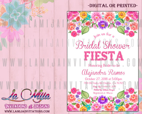 Fiesta Bridal Shower Invitations, Mexican Fiesta Bridal Shower Invitations, Mexican Bridal Shower Theme, Invitaciones Despedida de Solera, Tema Mexicano Fiesta