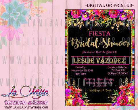 Fiesta Bridal Shower Invitations, Mexican Theme Bridal Shower, Serape Bridal, Fiesta Theme Bridal Invitations, Invitaciones Despedida de Soltera