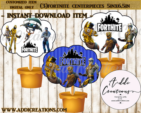 Fortnite Table Center Piece, Digital Fortnite CenterPiece, Fortnite Party, Instant Download - Addi Creations