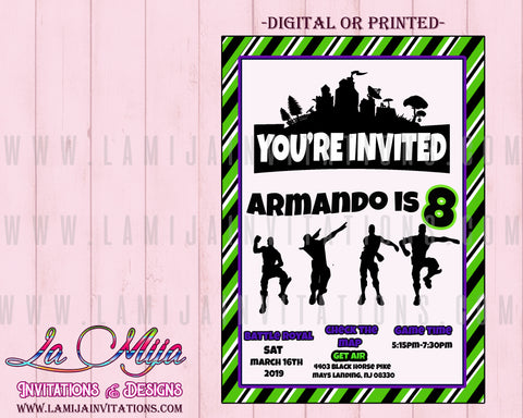 Fortnite Invitations, Customized Item, Fortnite Birthday Invitations