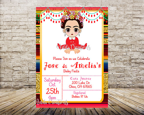 Frida Kahlo Invitations, Baby Shower Frida Invitations, Baby Frida Kahlo, Invitaciones Frida Kahlo,Frida Kahlo Party Theme - Addi Creations