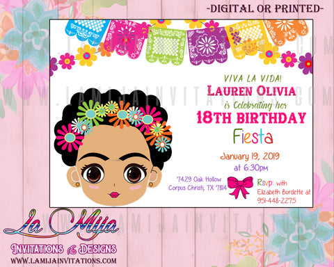 Frida Kahlo Invitations, Frida Kahlo Birthday Invitations, Frida Kahlo Baby Shower, Frida Kahlo Party Invites, Invitaciones Frida Kahlo - Addi Creations