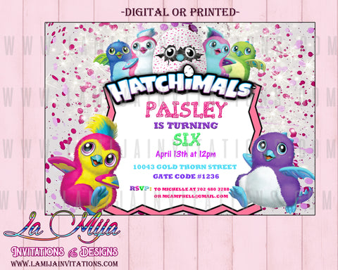 Hatchimal Invitations, Customized Item, Hatchimal Birthday Invitations, Hatchimal Party Invitations - Addi Creations