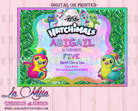 Hatchimal Party, Customized Item, Hatchimal Birthday Invitations, Hatchimal Invitations, Invitaciones Hatchimal, Hatchimal Party Invitations - Addi Creations