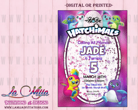 Hatchimal Invitations,Customized Item, Hatchimal Birthday Invitations, Hatchimal Party Invites - Addi Creations