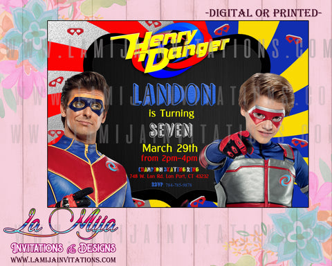 Henry Danger, Henry Danger Birthday Party, Henry Danger Birthday Party Invitations, Henry Danger Party Ideas, Henry Danger Invitations, Henry Danger Birthday Invitations