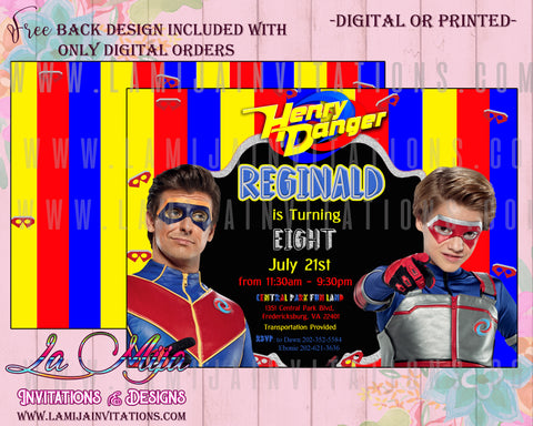Hnery Danger, Henry Danger Birthday Invitations, Henry Danger Invitations, Henry Danger Party Invitations, Henry Danger Birthday Theme, Henry Danger Party Ideas