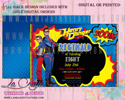 Henry Danger Birthday Party, Henry Danger Party Invitations, Henry Danger Invitations, Henry Danger Party Ideas