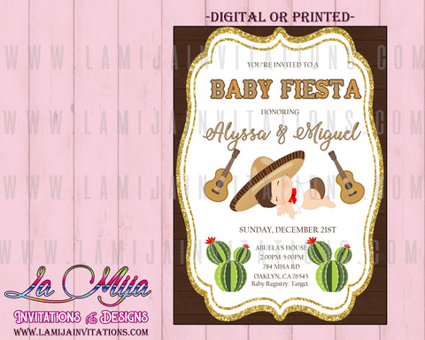 Baby Fiesta Invitations, Customized Item, Mexican Theme Baby Shower Invitations, Invitaciones Baby Shower, Tema Mexicano, Charrito Invitations - Addi Creations