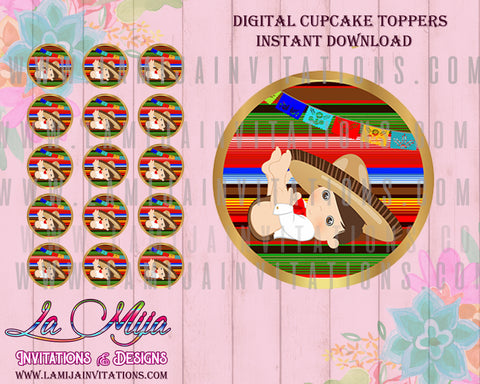 INSTANT DOWNLOAD,Baby fiesta Cupcake Toppers, Mexican Baby Shower, Fiesta Baby Shower, Mexican Baby Shower Invitations, Printables