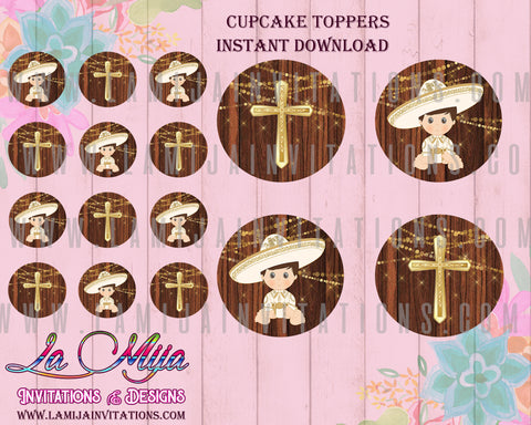 Charro Digital Toppers, Customized Item, Instant Download, Charro Theme Party, Mexican Cupcake Toppers, Bautizo Charro