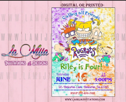 Rugrats Invitations, Rugrats Birthday Invitations, Rugrats Party Invites, Invitaciones de Rugrats, Rugrats Party Invitations - Addi Creations