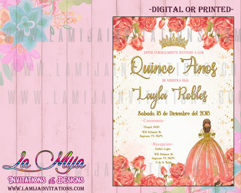 Quinceanera Invitations, Invitaciones Quinceanera, Peach Quinceanera, Flower Quinceanera Invites