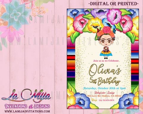 Frida Kahlo Invitations, Customized Item, Frida Kahlo Birthday Invitations, Invitaciones de Frida Kahlo - Addi Creations