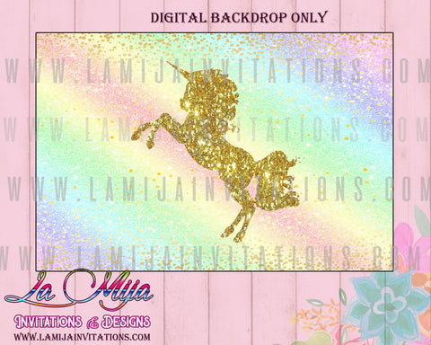 Unicorn DIGITAL Backdorp, Customized Item, Unicorn Party Backdrop, Unicorn Table Backdrop